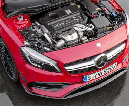 Mercedes-AMG A 45 4MATIC,jupiter rot, AMG Night-Paket, AMG Aerodynamik-Paket, AMG 2,0-Liter-Turbomotor mit 280 kW (381 PS) Höchstleistung und maximalen Drehmoment von 475 Newtonmeternjupiter red, AMG Night package, AMG Aerodynamics package , AMG 2.0-litre turbocharged engine with a peak output of 280 kW (381 hp) and maximum torque of 475 newton metres